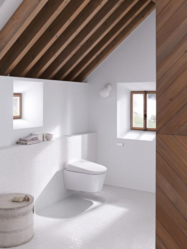 Ein wandhängende Dusch-WC und die Fernauslösung – beides von Geberit