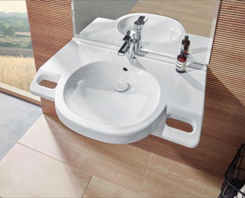 Ein Waschtisch mit integrierten Griffen